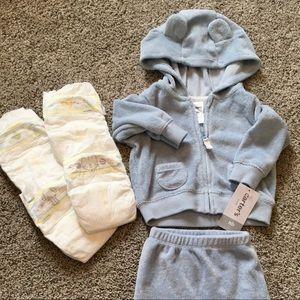 Carters NEWBORN baby boy 2 piece jacket and pants